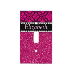 Glitter Pink and Black Pattern Rhinestones Switch Plate Cover