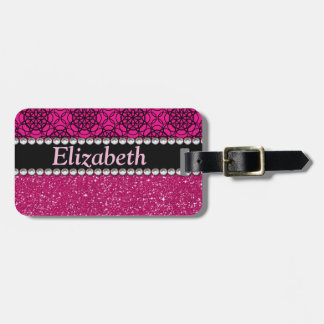 Glitter Pink and Black Pattern Rhinestones Travel Bag Tag