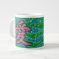 Glitter Pink Chinese Love Glitter Green Blue Jumbo Mugs