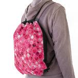 Glitter Pink Circles Drawstring Bag