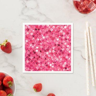 Glitter Pink Circles Napkins