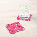 Glitter Pink Circles Paper Coaster