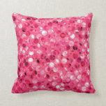 Glitter Pink Circles Throw Pillow