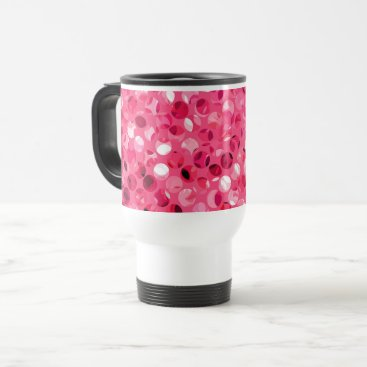 Glitter Pink Circles Travel Mug