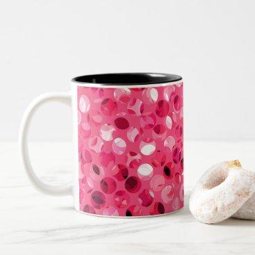 Glitter Pink Circles Two-Tone Coffee Mug