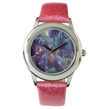 Halloween Themed Glitter Pink Custom Watch Roxy the Rottweiler