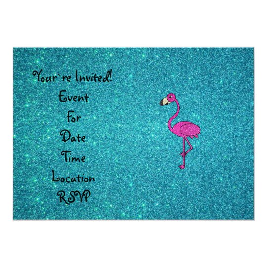 Glitter pink flamingo turquoise glitter card