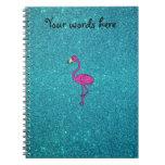 Glitter pink flamingo turquoise glitter spiral note book