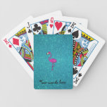 Glitter pink flamingo turquoise glitter bicycle poker cards