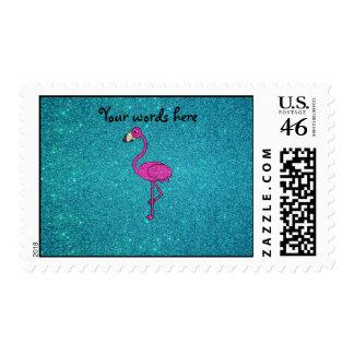 Glitter pink flamingo turquoise glitter postage stamp