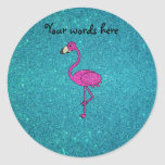 Glitter pink flamingo turquoise glitter stickers
