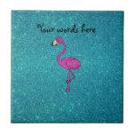 Glitter pink flamingo turquoise glitter small square tile