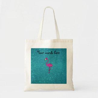 Glitter pink flamingo turquoise glitter tote bag