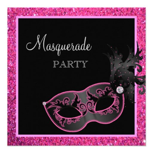 Personalized Black Masquerade Party Invitations - Masquerade party invitations templates