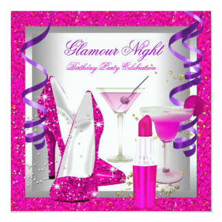 Glitter Pink Purple Glamour Night Martini Party Card
