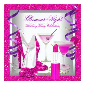 Glitter Pink Purple Glamour Night Martini Party Invitations