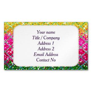 Glitter Pink Snakeskin Business Card Magnet