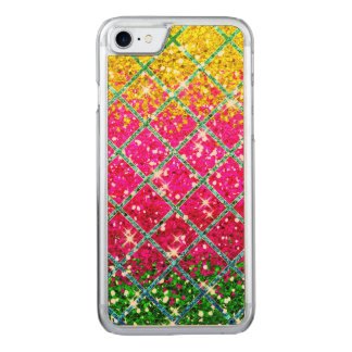 Glitter Pink Snakeskin Carved iPhone 7 Case