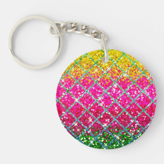 Glitter Pink Snakeskin Double-Sided Round Acrylic Keychain