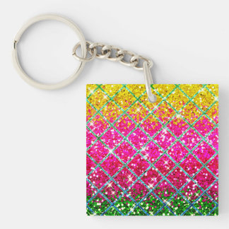 Glitter Pink Snakeskin Double-Sided Square Acrylic Keychain