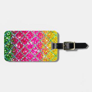 Glitter Pink Snakeskin Luggage Tag
