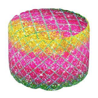 Glitter Pink Snakeskin Pouf