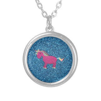Glitter pink unicorn silver plated necklace
