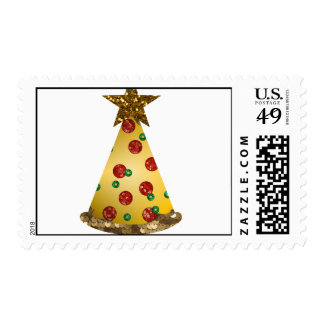 glitter pizza christmas tree postage