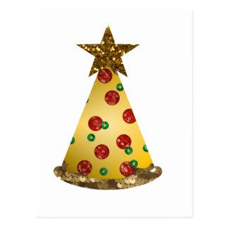 glitter pizza christmas tree postcard
