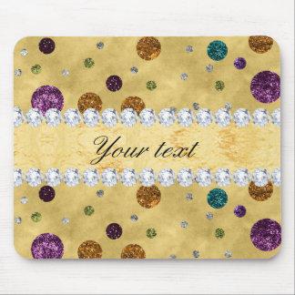 Glitter Polka Dots and Diamonds Mouse Pad