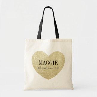 Glitter-Print Heart Shape Bridesmaid personalized Tote Bag