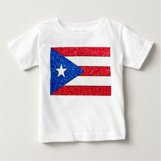 Glitter Puerto Rico flag baby shirt