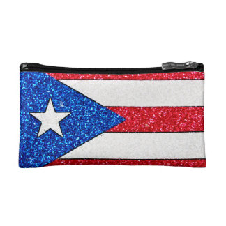 Glitter Puerto Rico flag small cosmetic bag