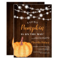 Glitter pumpkin wood orange light fall baby shower invitation