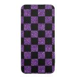 Glitter purple and black checkered pattern