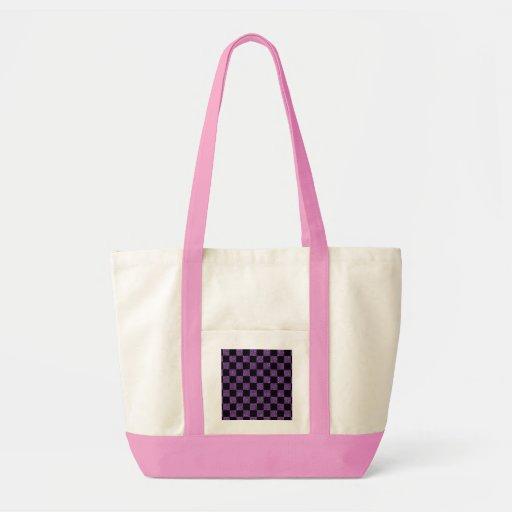 Glitter purple and black checkered pattern bag