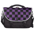 Glitter purple and black checkered pattern laptop computer bag