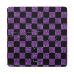 Glitter purple and black checkered pattern puzzle coaster