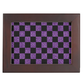 Glitter purple and black checkered pattern memory boxes