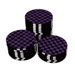 Glitter purple and black checkered pattern poker chips