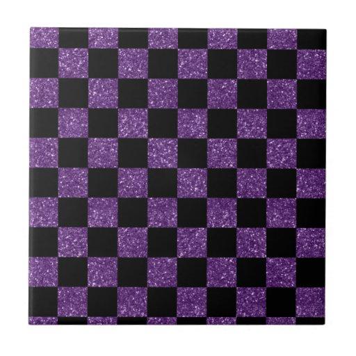 Glitter purple and black checkered pattern small square tile