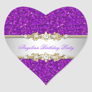 Glitter Purple Birthday Party Gold Jewel Diamond Heart Sticker