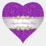 Glitter Purple Birthday Party Gold Jewel Diamond Heart Stickers