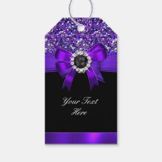 Glitter Purple Bow Black Pearl Jewel Gift Tags