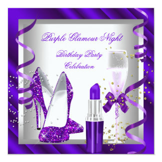Glitter Purple Glamour Night Champagne Party Card