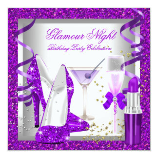 Glitter Purple Glamour Night Drinks Birthday Party Card