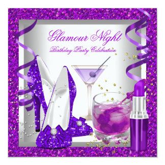 Glitter Purple Glamour Night Martini Party Card