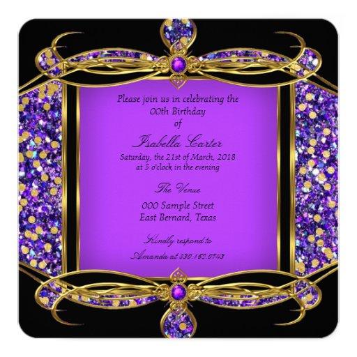 glitter purple gold black birthday party invitation