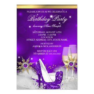 Glitter Purple High Heel Shoes Gold Champagne Card