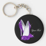 Glitter Purple High Heel Shoes Basic Round Button Keychain